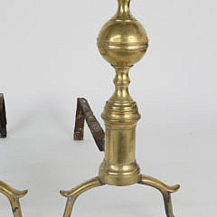 Pair of New York Brass Ball and Finial Top Andirons, early 19th Century