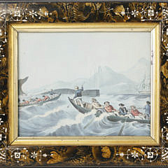 Pair of Fishing Lithographs in Victorian Decorated Frames