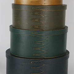 Set of 9 Shaker Style Nesting Wooden and Painted Ditty Boxes