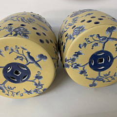 Pair of Yellow and Blue Glazed Chinese Garden Stools