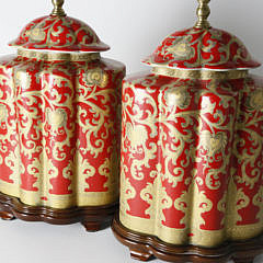 Pair of Chinese Red Glazed Porcelain Lamps