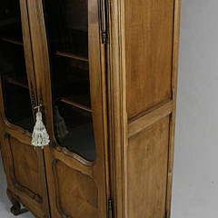 French Carved Fruitwood Louis XVI Style Glazed Door Cabinet