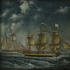 Pair of Trevor James Oil on Canvas Maritime Paintings, Contemporary