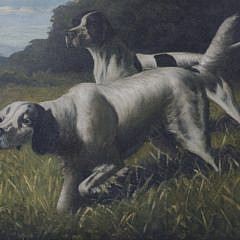 T. Bailey Oil on Canvas Portrait of Two Hounds