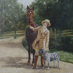 "A. Le Court Oil on Canvas ""A Girl and Her Pets"", circa 1920s"