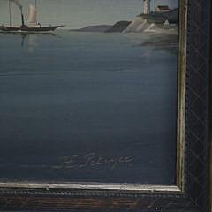 """H. Peterzer Oil on Panel, """"Sloop Leaving Harbor"""""""