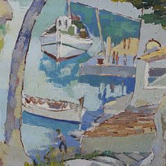 "S.B. Busser Oil on Canvas ""Cala Figuera Santanyi Mallorca"", 1967"