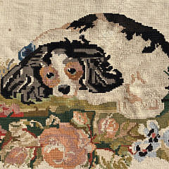 Spaniel on a Bed of Flowers Needlepoint Rug