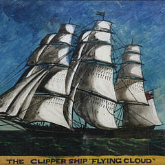 "Reverse Painting on Glass, ""The Flying Cloud"", 19th Century"