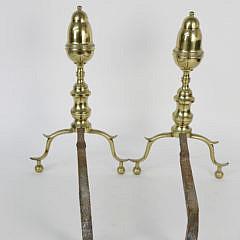 Pair of New York Brass Bullet Top Andirons, 19th Century