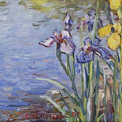 "Jan Pawlowski Oil on Canvas ""Irises at Water's Edge"""