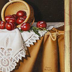 "Jane Mihalik Miniature Oil on Board ""Red Plums"""