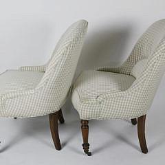 Pair of  Gingham Upholstered Slipper Chairs