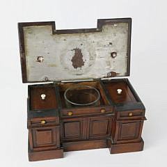 Mahogany Double Compartment Tea Caddy in the Form of a Sideboard, 19th c.