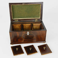 Chippendale Triple Compartment Tea Caddy, 19th c.