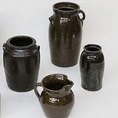 Collection of Eight Antique Brown Glazed Ceramic Crocks