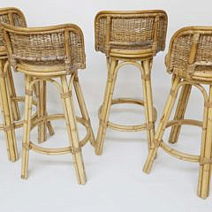 Four Contemporary Bamboo and Rattan Barstools