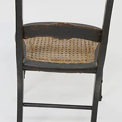 Six Country Decorated Caned Seat Chairs, 19th Century