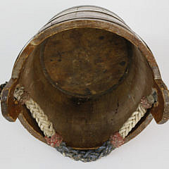 Ships Water Bucket with Polychromed Fancy Ropework Becket Handle