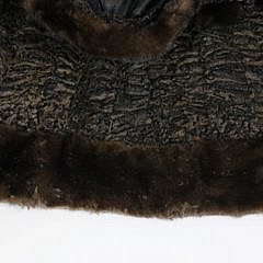 Vintage Chocolate Brown Persian Lamb and Mink Coat