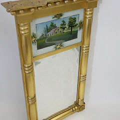 4-4904 Gilt Mirror with Eglomise Country Home Painting A_MG_5599