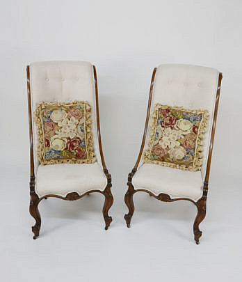 4-4912 Pair of English Rosewood Upholstered Slipper Chairs A_MG_6244