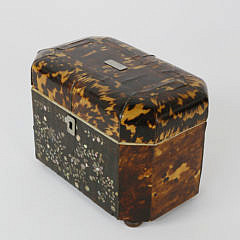 English Regency Tortoiseshell Double Compartment Tea Caddy