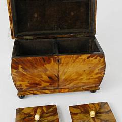 English Regency Tortoiseshell Double Compartment Tea Caddy