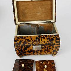English Regency Tortoiseshell Double Compartment Tea Caddy, 19th c.