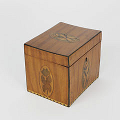 English Satinwood Inlaid Tea Caddy, 19th c.
