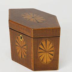 English Hexagonal Single Compartment Tea Caddy, 19th c.