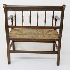English Oak Spindle Back Rush Seat Settee, 19th c.