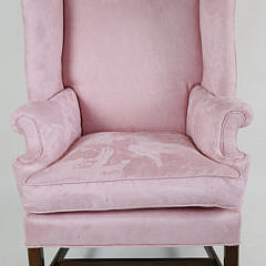 Chippendale Style Pink Suede Lady's Wing Chair