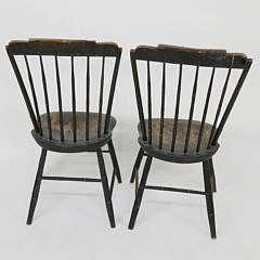 Pair of American Step-down Windsor Side Chairs, circa 1810