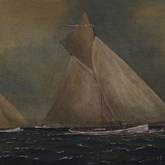 Yacht Race Watercolor Tempera on Paper