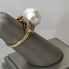 13mm Cultured White Pearl and Diamond Gold Ring