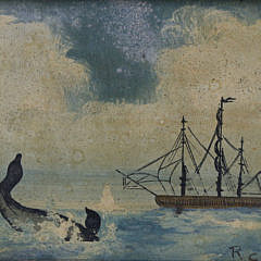 "Primitive Oil on Panel Seascape ""Arctic Whaling Scene"""