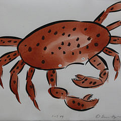 """Eric Hopkins Watercolor on Paper, """"A Maine Red Crab"""""""