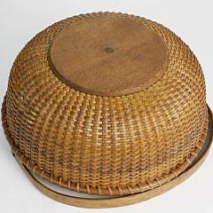 William Appleton Antique Nantucket Round Open Swing Handle Shallow Basket