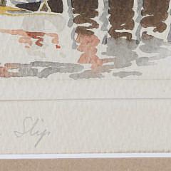 "Doris and Richard Beer Miniature Nantucket Watercolor, ""Old North Slip"""