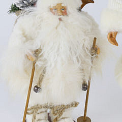 Two Santa Claus Saint Nicholas White Christmas Figures