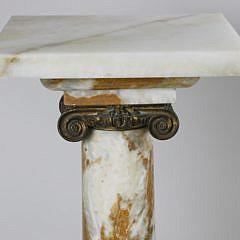Continental Alabaster Corinthian Column Pedestal