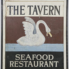 """Hand Painted Wood Sign """"The Tavern Seafood Restaurant"""", 1960s"""