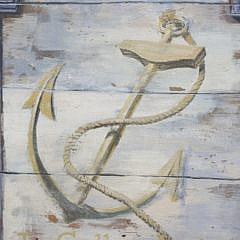 "Vintage Hand Painted Trade Sign ""The Golden Anchor"""