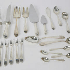 """103 Piece Reed and Barton Sterling Silver Flatware Service in the """"Pointed Antique"""" Pattern"""