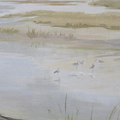 "Oil on Canvas ""View of The Creeks with Plovers"""