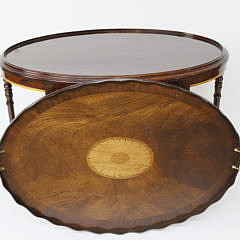 Mahogany Tray on Stand with Satinwood Fan Inlay