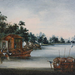 """Pair of Small China Trade Oil on Canvas Paintings, """"River Landscape"""""""