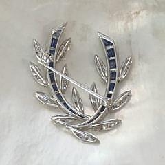 Ladies Vintage Diamond and Sapphire Brooch