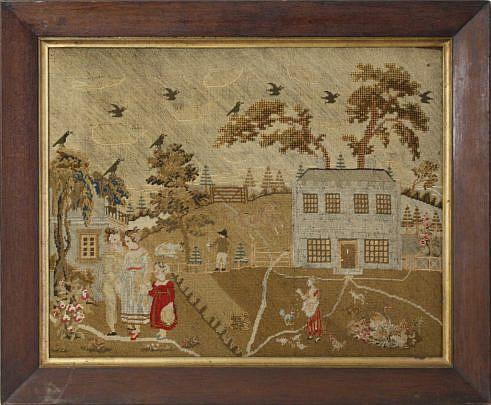 "95-4900 English Needlework Embroidery ""Farmhouse and Family Scene"" A_MG_5991"